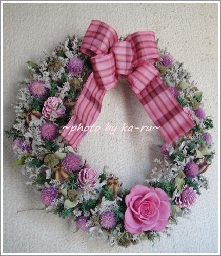 日比谷花壇 ドライフラワーリース「リース ド ロゼ」12