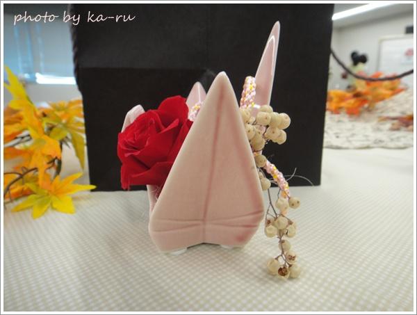プリザーブド&アーティフィシャルアレンジメント「鶴の舞」手提げ袋・メッセージ台紙付3