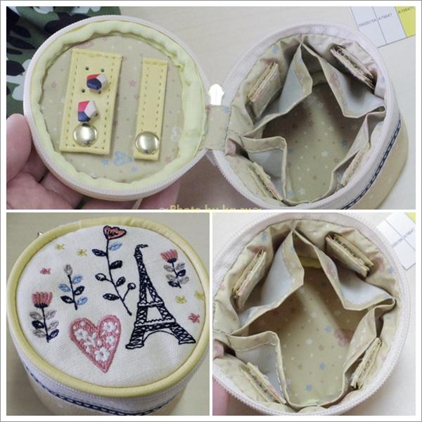 刺繍モチーフ入りアクセサリーポーチ