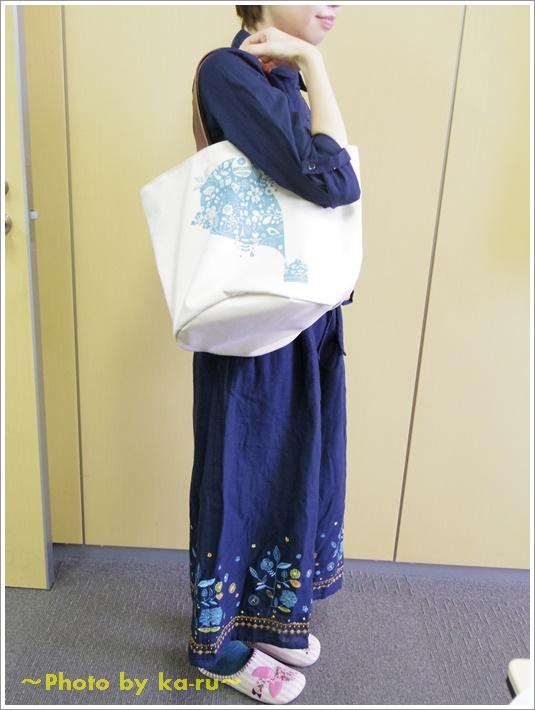 日本製レザー持ち手のキャンバストートバッグ(mini labo)9