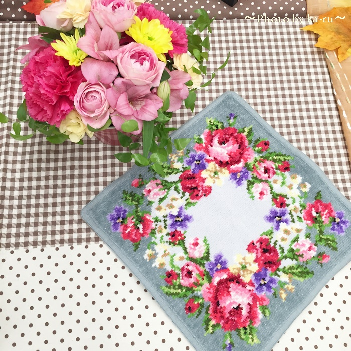 フェイラー「ハンカチ」と日比谷花壇のお花のセット 敬老の日に贈ろう
