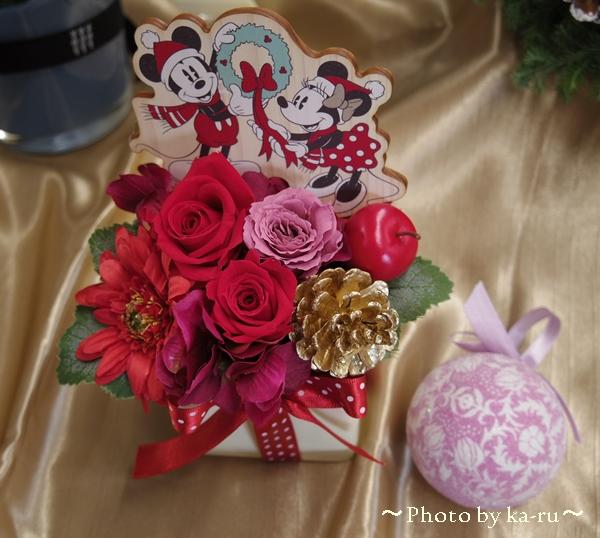 プリザーブドフラワー オリジナルのピックが付いた「ミッキー&ミニー ハートフルギフト」