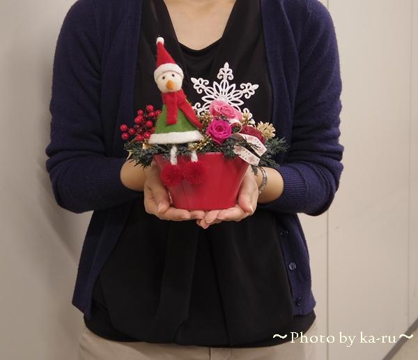 お子さんや女性へのプレゼントにオススメ 日比谷花壇プリザーブド&アーティフィシャルアレンジメント「ハッピースノーマン」