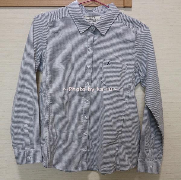 フェリシモの「伸びるシャツ」 ストライプ