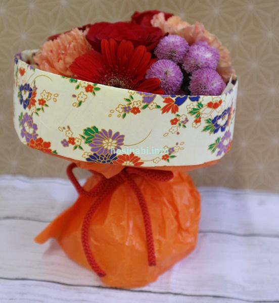 日比谷花壇 敬老の日 そのまま飾れるブーケ「花結び」 ラッピング