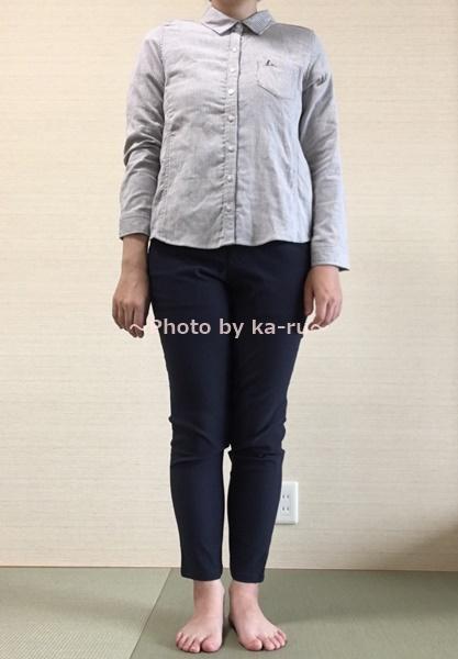 着てみた感想 フェリシモ 伸び軽パンツ 伸びるシャツ ボタン全部閉め