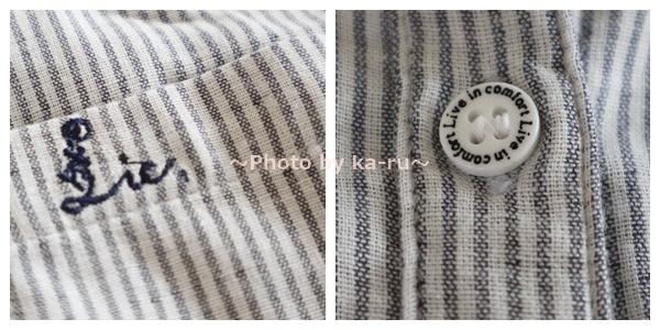 フェリシモの「伸びるシャツ」 ストライプ ボタン ポケットの刺しゅう