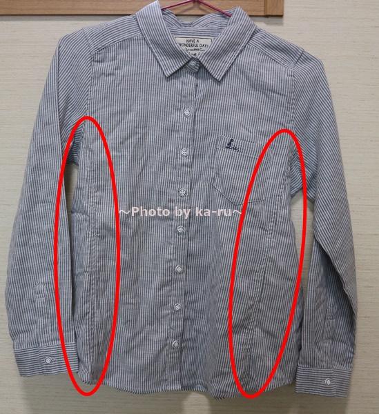 フェリシモの「伸びるシャツ」 ストライプ 切り替えで細そ見え