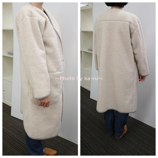 リブ イン コンフォート 軽やかに着られてしっかり暖か リバーシブルムートン風コート 横側と後ろ