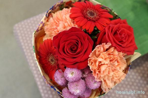 花瓶のいらないブーケ 日比谷花壇 敬老の日 そのまま飾れるブーケ「花結び」