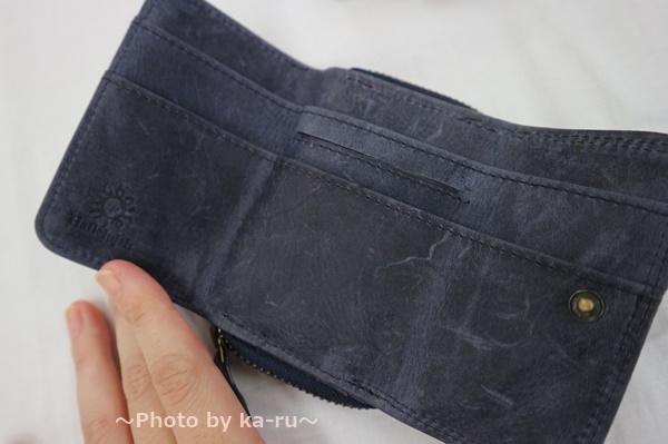 ミニレザーウォレット 本革ミニ財布 三つ折りコンパクト お札とカード2