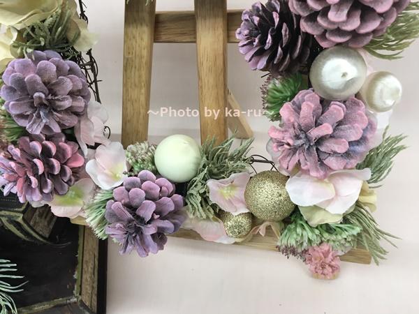 【日比谷花壇】クリスマス アーティフィシャルスクエアリース「テレッツァ」 パステルカラー