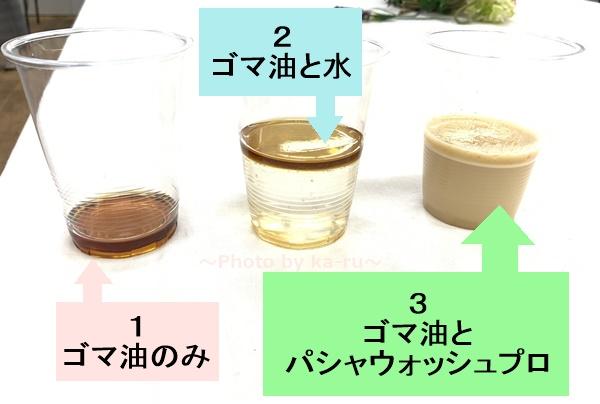 パシャウォッシュプロ ゴマ油実験
