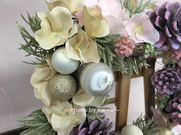 【日比谷花壇】クリスマス アーティフィシャルスクエアリース「テレッツァ」 サテンボール