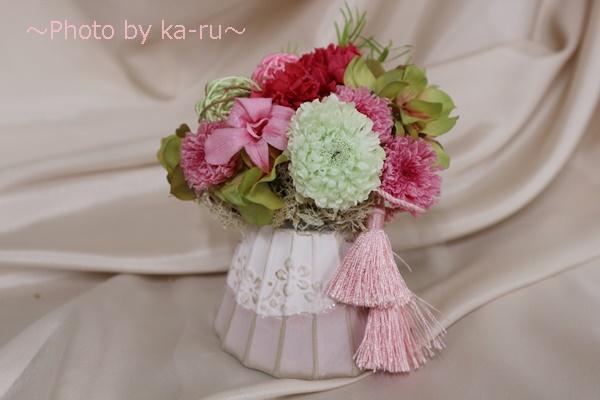 プリザーブドフラワー「てまり富士」_富士山に見える花器