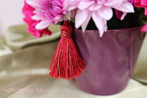 アレンジメント「花てまり」_花器とラッセル