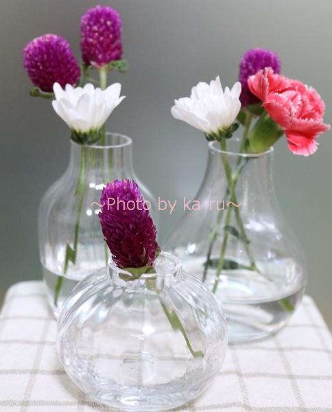 日比谷花壇「ボブクラフトフラワーベース 3点セット」_飾ってみたフラワーベース つぼみS