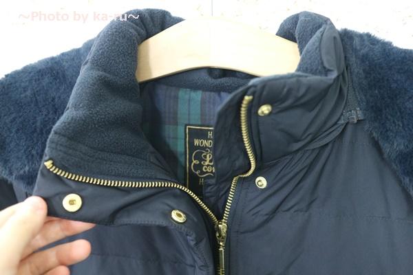 フェリシモ リブ イン コンフォート 寝袋級の暖かさ ロングダウンコート〈ネイビー〉_首もとまで暖かい