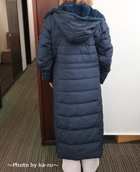 フェリシモ リブ イン コンフォート 寝袋級の暖かさ ロングダウンコート〈ネイビー〉_着てみた感想 後