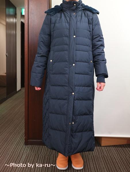 フェリシモ リブ イン コンフォート 寝袋級の暖かさ ロングダウンコート〈ネイビー〉_着てみた感想 正面