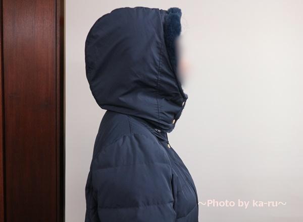 フェリシモ リブ イン コンフォート 寝袋級の暖かさ ロングダウンコート〈ネイビー〉_フード 首もと しっかり閉める