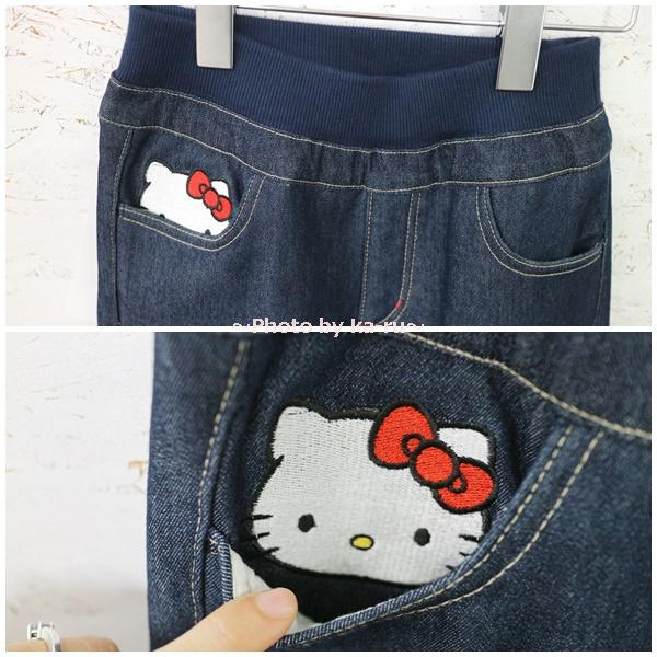 フェリシモの裏ボアパンツとキティコラボ_キッズサイズ ポケットに隠れている「隠れキティ」