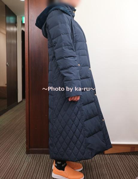 フェリシモ リブ イン コンフォート 寝袋級の暖かさ ロングダウンコート〈ネイビー〉_着てみた感想 横