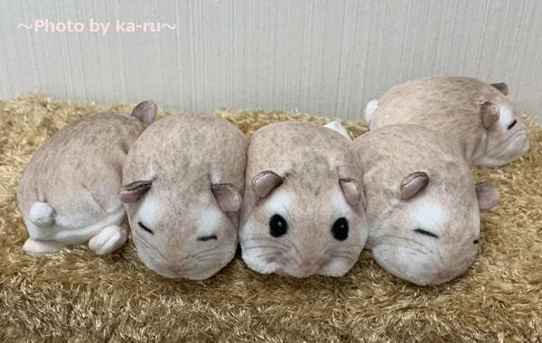ぎゅうぎゅう集まって眠る ハムスターのボックスティッシュカバー_5匹 表情