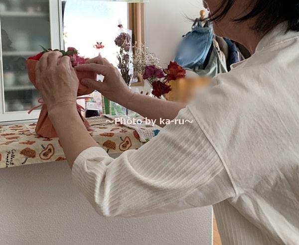 母の日2020日比谷花壇「そのまま飾れるブーケ」_飾る