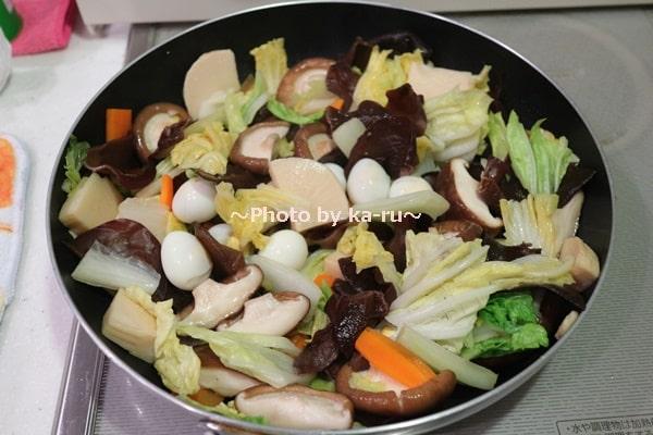 国産乾燥きくらげで八宝菜が完成