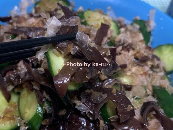 コリコリきくらげときゅうりの中華和えを試食