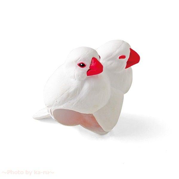 フェリシモ「もっちり文鳥の傘タグの会」白文鳥
