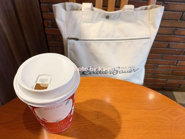 エディー・バウアー キャンバストートバッグミディアム_カフェに持って行った