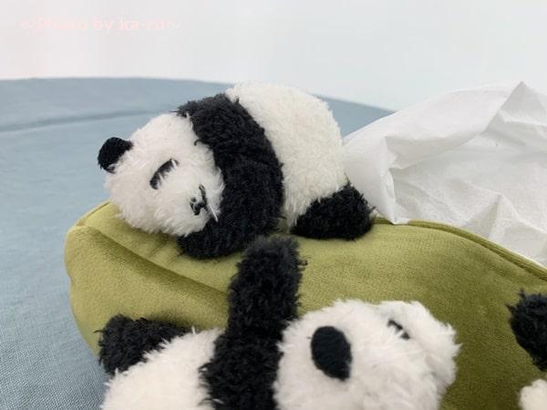 フェリシモ「パンダがすやすや」ボックスティッシュカバー