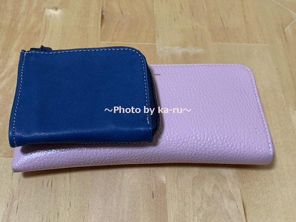 フェリシモ_本革ミニマム財布 長財布と大きさ比較