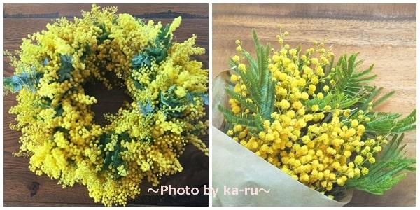 ミモザのリースと花束